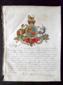 Wilkes 1796 HC Engraved Royal Warrant for Encyclopaedia Londinensis Coat of Arms